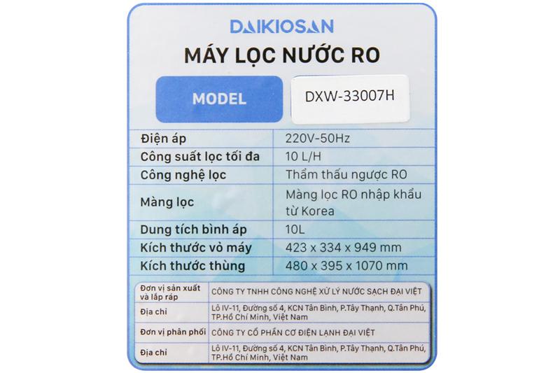 Phù hợp nhu cầu gia đình - Máy lọc nước RO Daikiosan DXW-33007H