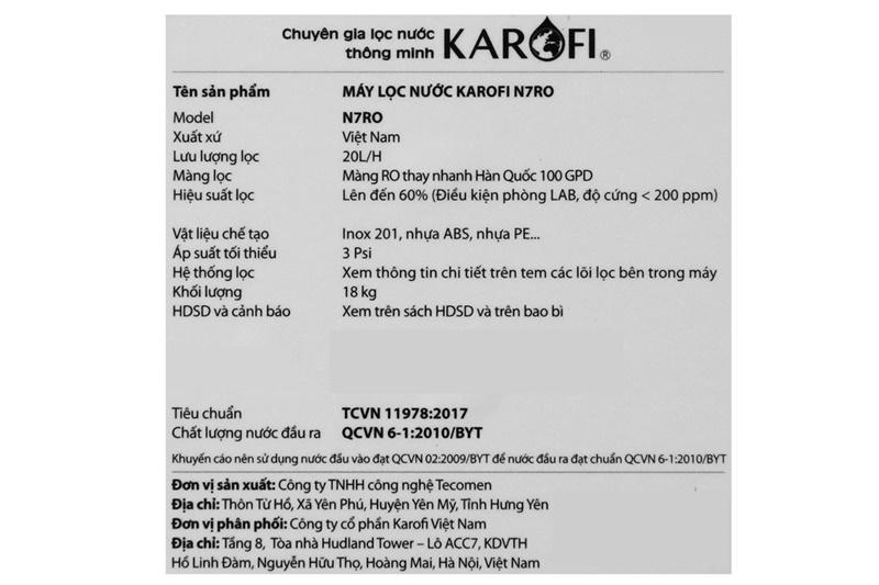 Công suất lọc mạnh mẽ 20 lít/giờ - Máy lọc nước RO Karofi N7RO 7 lõi