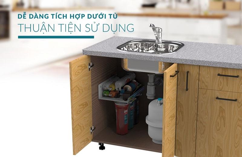 Thiết kế không vỏ tủ dễ dàng lắp đặt dưới kệ bếp - Máy lọc nước RO không vỏ Sunhouse SHA8878KV 8 lõi