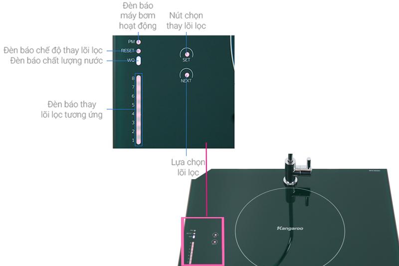 Màn hình cảm ứng với các chế độ báo tiện dụng - Máy lọc nước RO Kangaroo KG08G5VTU 8 lõi