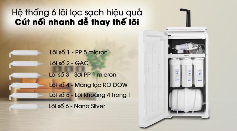 Lọc hiệu quả - Máy lọc nước RO nóng lạnh Philips ADD8980 6 lõi (Imei)