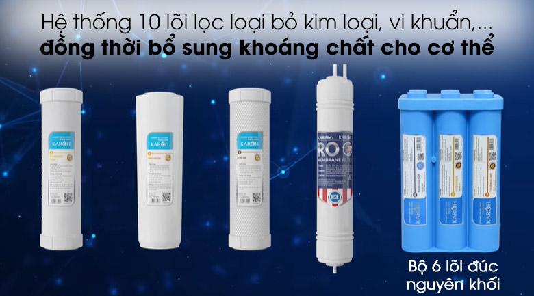 Hệ thống 10 lõi lọc - Máy lọc nước không vỏ RO Karofi KAQ-U95 10 lõi