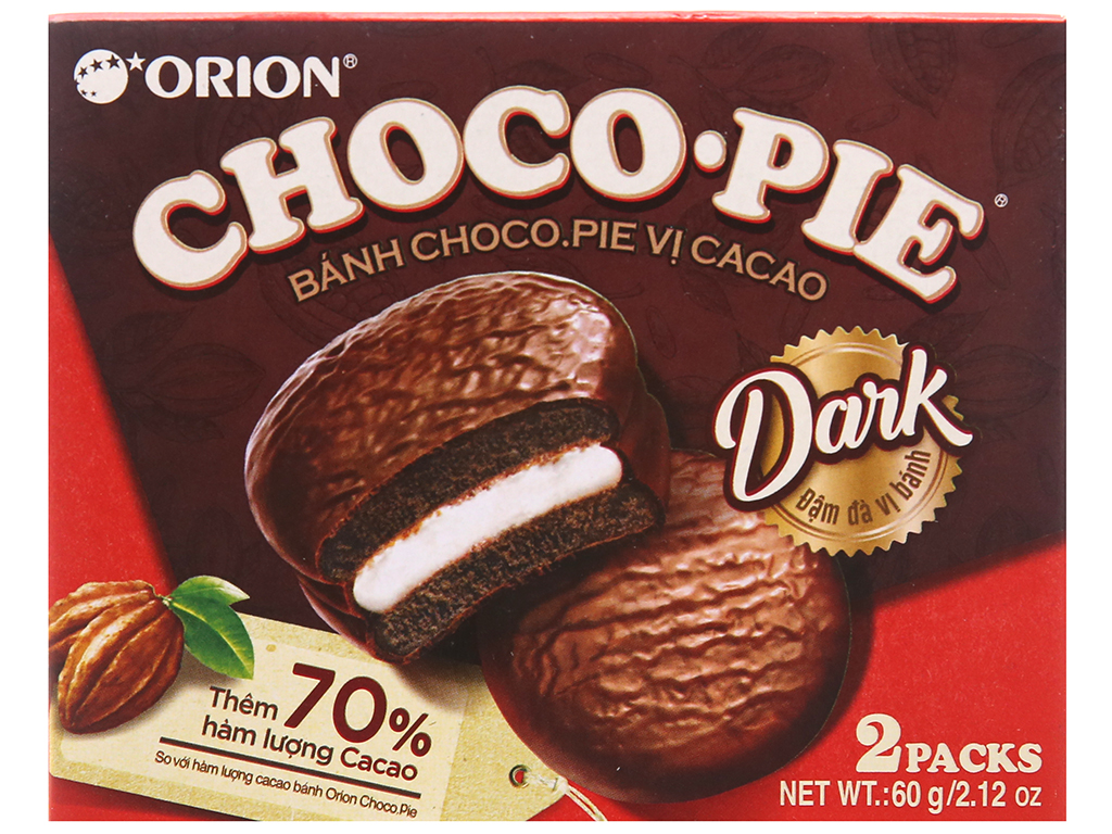 Hộp 2 bánh vị cacao Choco-pie Dark 30g 2