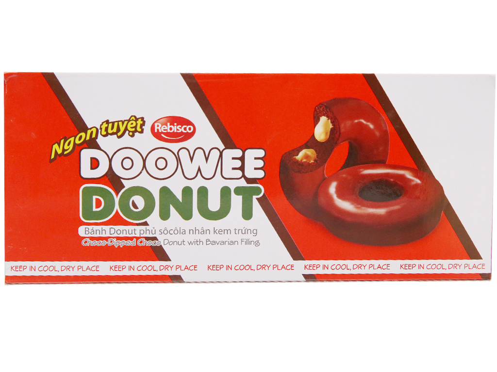 Hộp 5 bánh donut phủ sô cô la nhân kem trứng Doowee Donut 30g 1