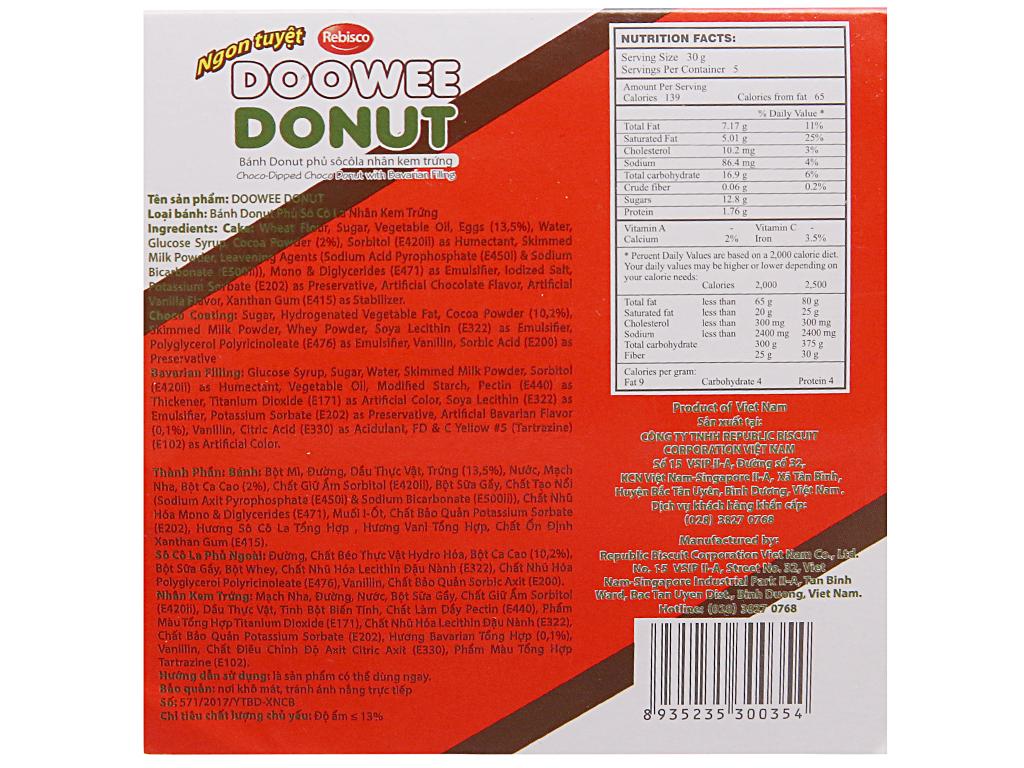 Hộp 5 bánh donut phủ sô cô la nhân kem trứng Doowee Donut 30g 2