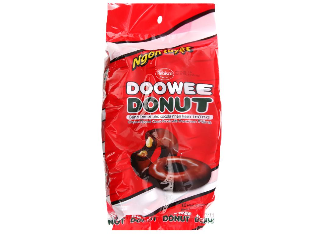 Gói 12 bánh donut phủ sô cô la nhân kem trứng Doowee Donut 30g 1