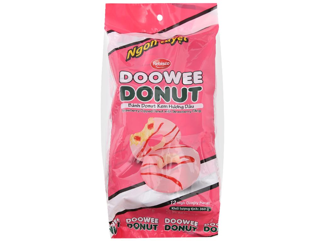 Gói 12 bánh donut kem hương dâu Doowee Donut 30g 1