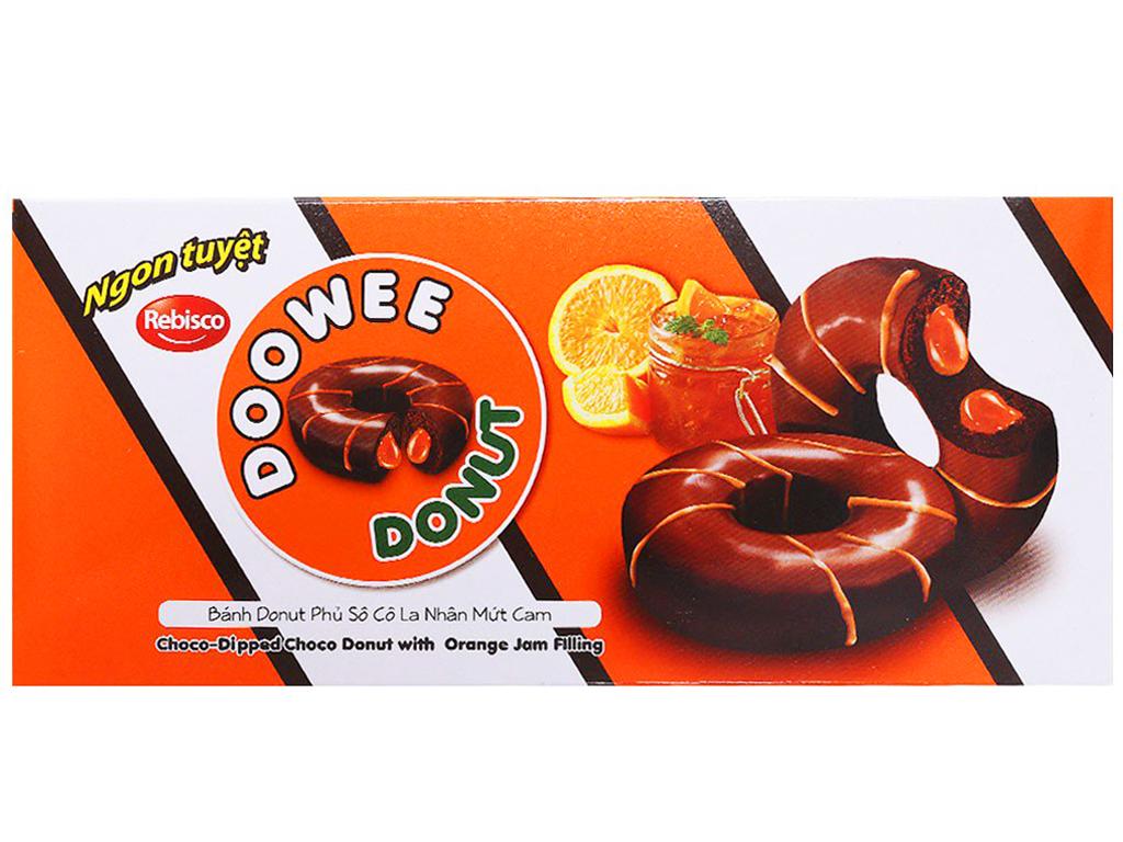 Hộp 5 bánh donut phủ sô cô la nhân mứt cam Doowee Donut 30g 1
