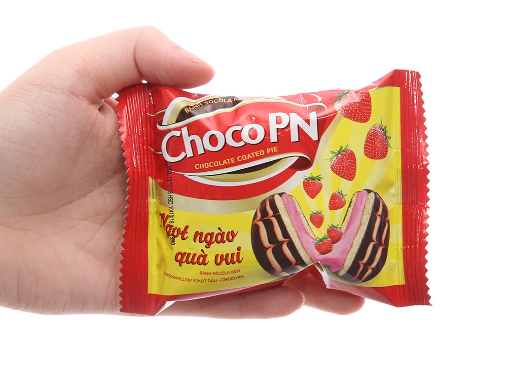 Hộp 12 bánh sô cô la kem nhân marshmallow và mứt dâu Choco P&N 22g 4