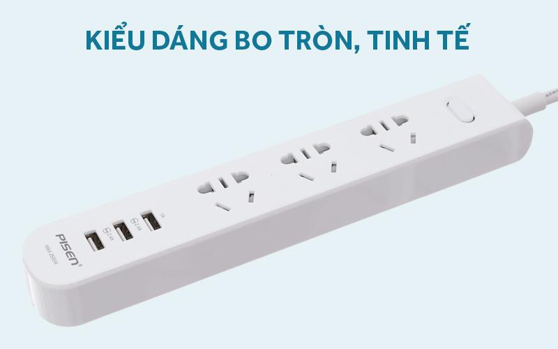 Ổ cắm điện 3 lỗ 3 USB 1.8m Pisen 303 Trắng