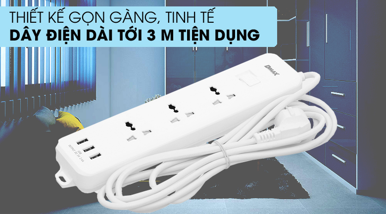 Gọn đẹp - Ổ cắm điện 3 USB 3 lỗ 3 chấu 3m DMAX YH-U614