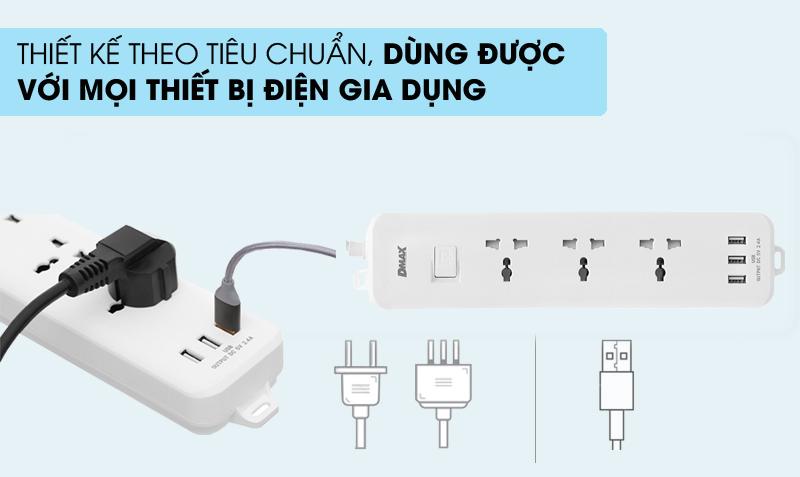 Tiện dụng - Ổ cắm điện 3 USB 3 lỗ 3 chấu 3m DMAX YH-U614