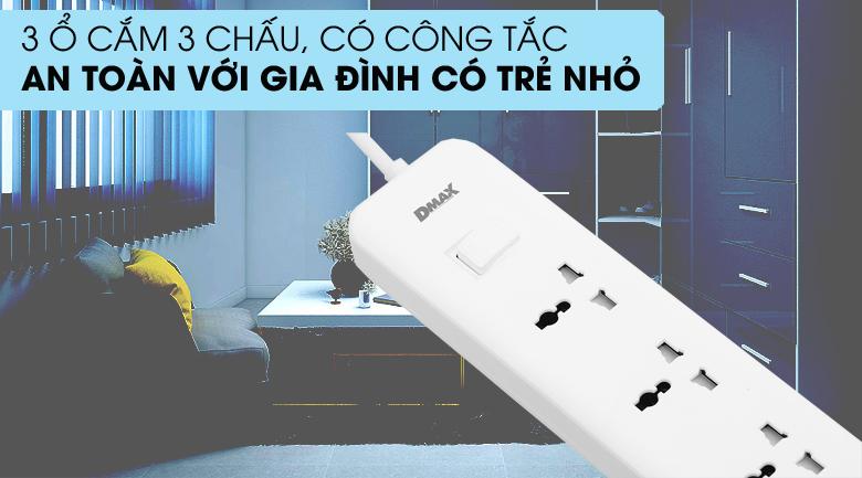 Ổ 3 chấu - Ổ cắm điện 3 USB 3 lỗ 3 chấu 3m DMAX YH-U614