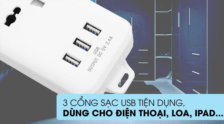 3 cổng USB - Ổ cắm điện 3 USB 3 lỗ 3 chấu 3m DMAX YH-U614