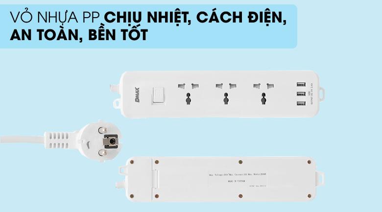 Vỏ nhựa an toàn - Ổ cắm điện 3 USB 3 lỗ 3 chấu 3m DMAX YH-U614
