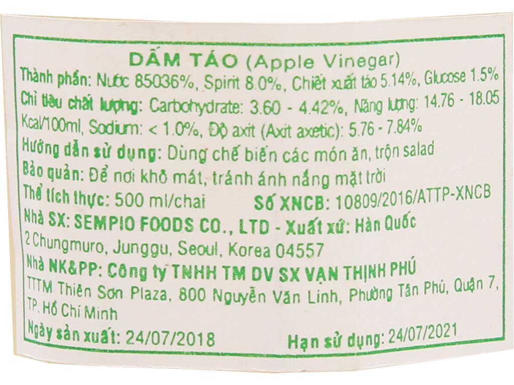 Giấm táo Hàn Quốc Sempio chai 500ml 5