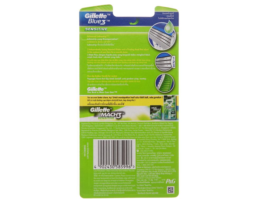Dao cạo râu 3 lưỡi Gillette Blue 3 Sensitive 3