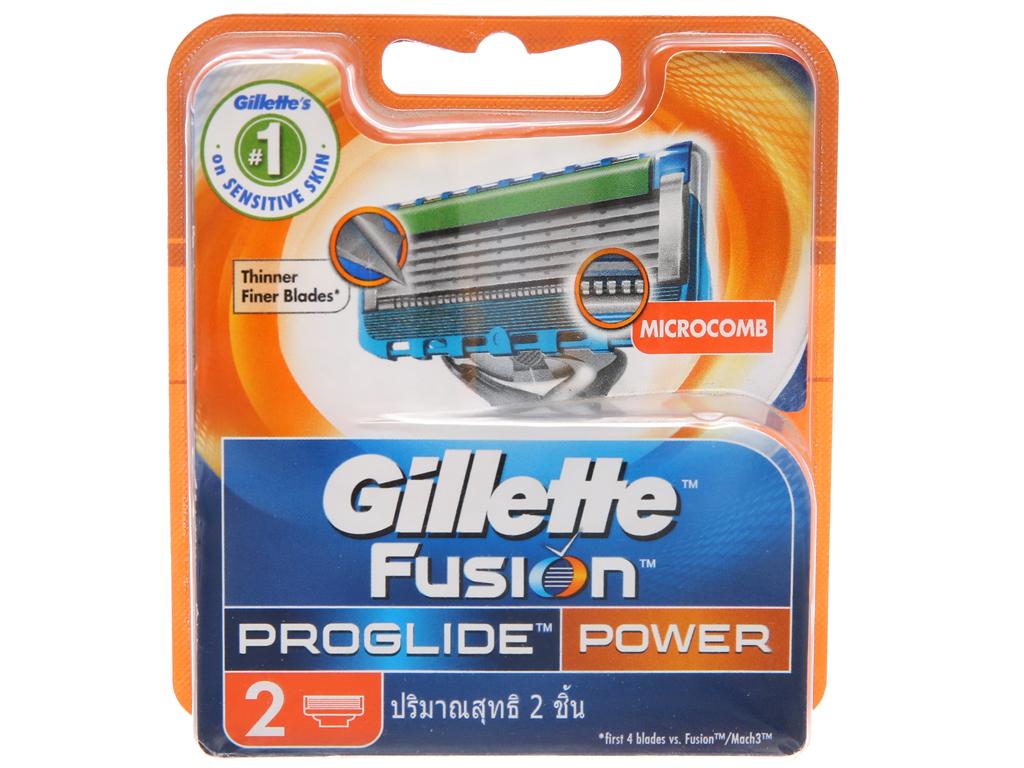 Vỉ 2 cái lưỡi dao cạo râu 5 lưỡi Gillette Fusion Proglide Power 2