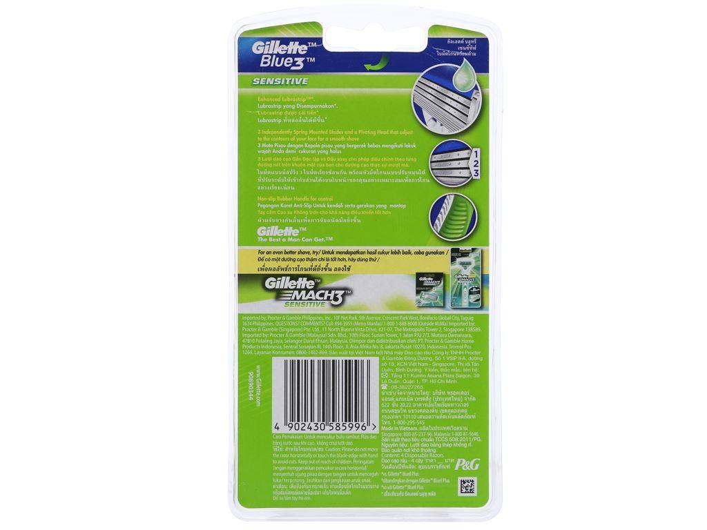 Bộ 4 cây dao cạo râu 3 lưỡi Gillette Blue 3 Sensitive 2