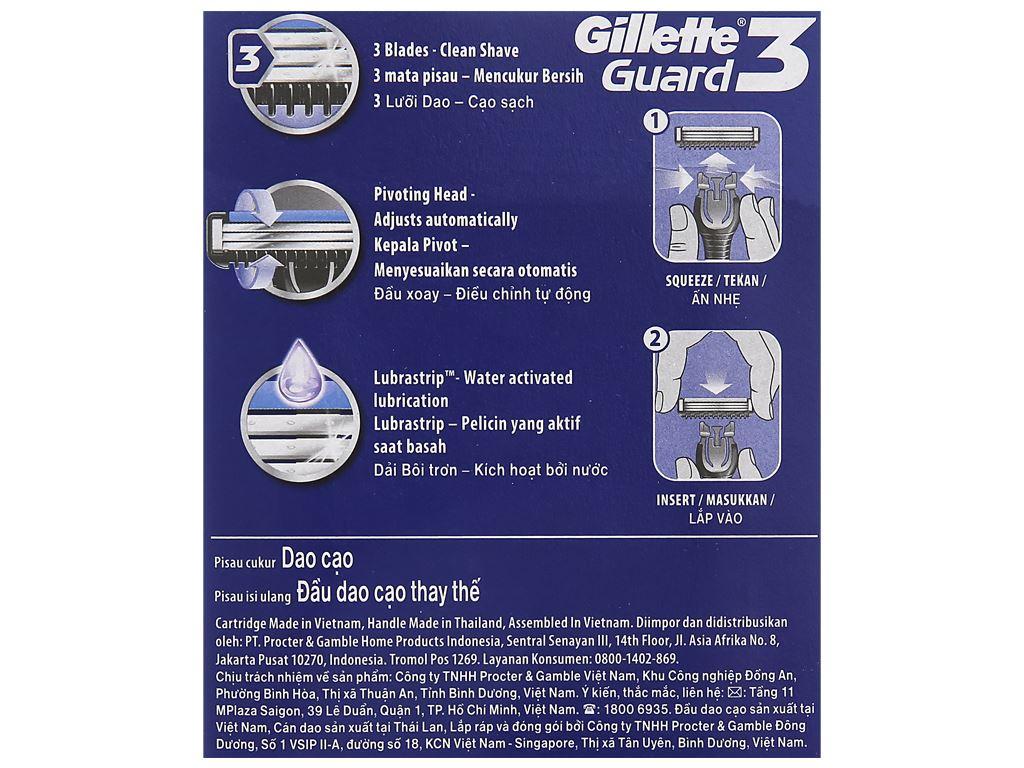 Bộ 1 cán dao và 2 lưỡi dao cạo 2 lưỡi Gillette Guard 5