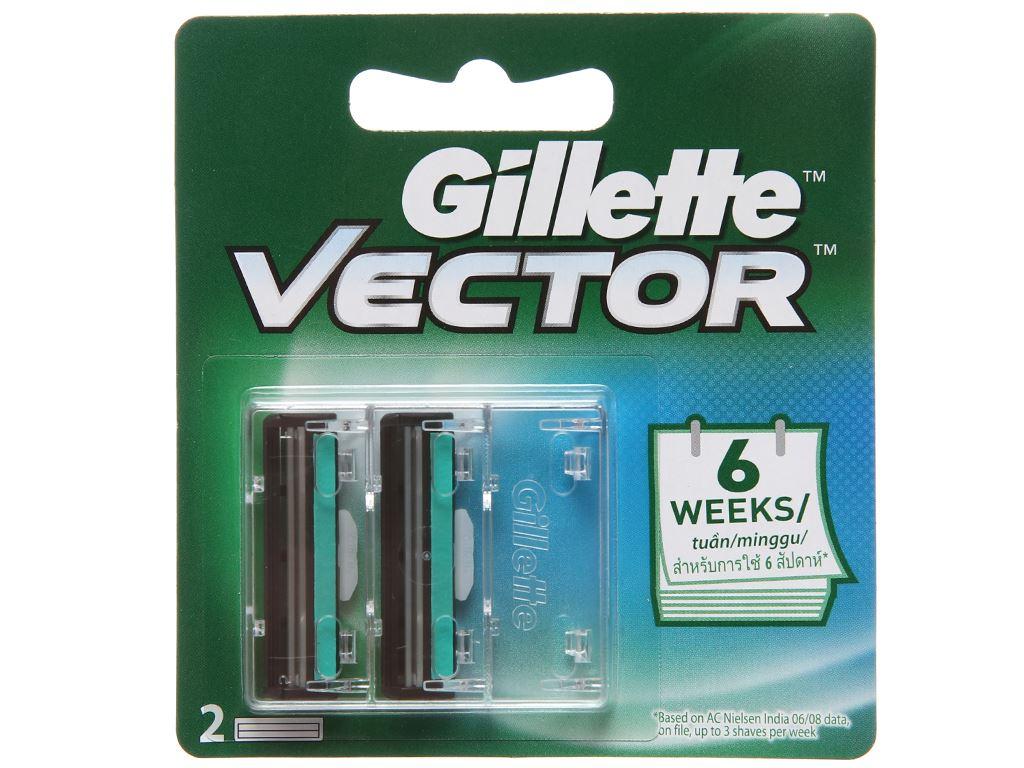 Vỉ 2 lưỡi dao cạo râu lưỡi kép Gillette Vector 2