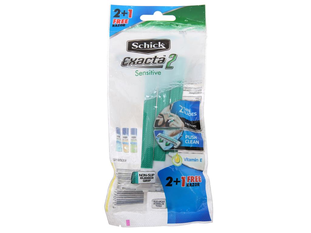 Bộ 3 cây dao cạo râu lưỡi đơn Schick Exacta 2 Sensitive 2