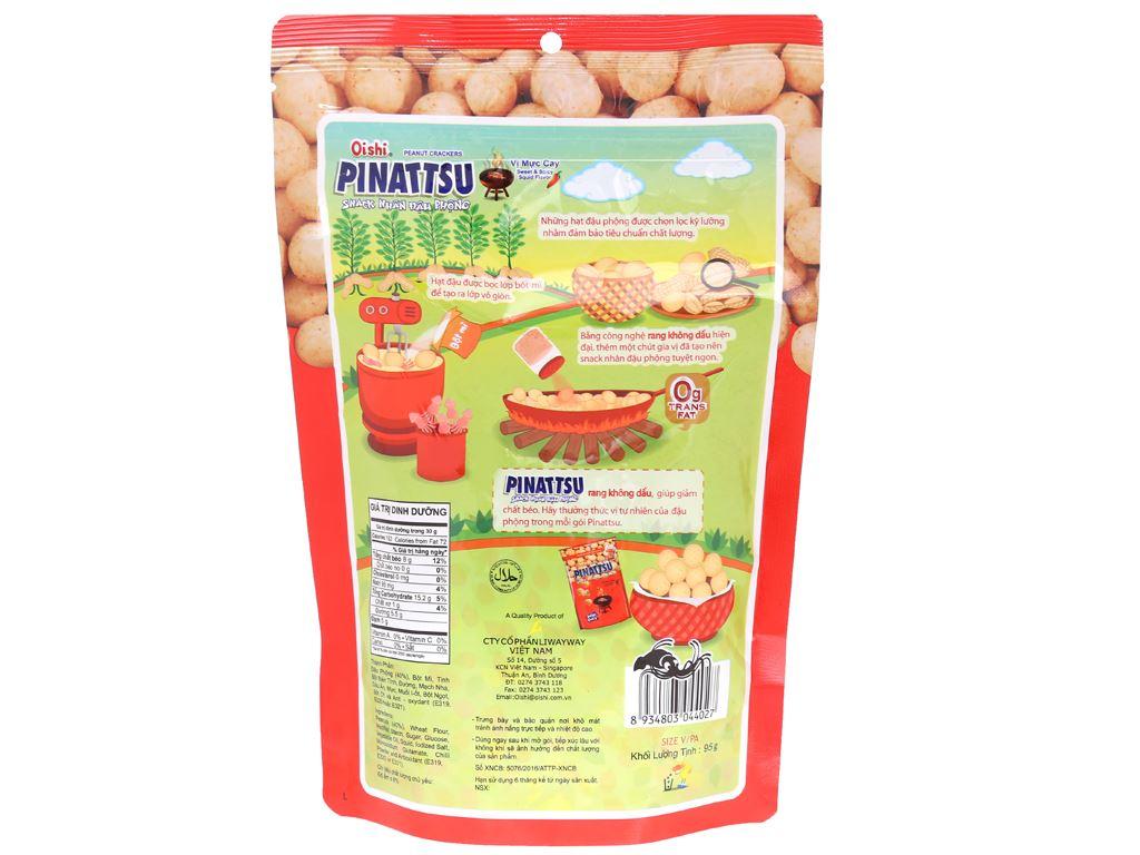 Snack nhân đậu phộng vị mực cay Pinattsu Oishi gói 100g 4