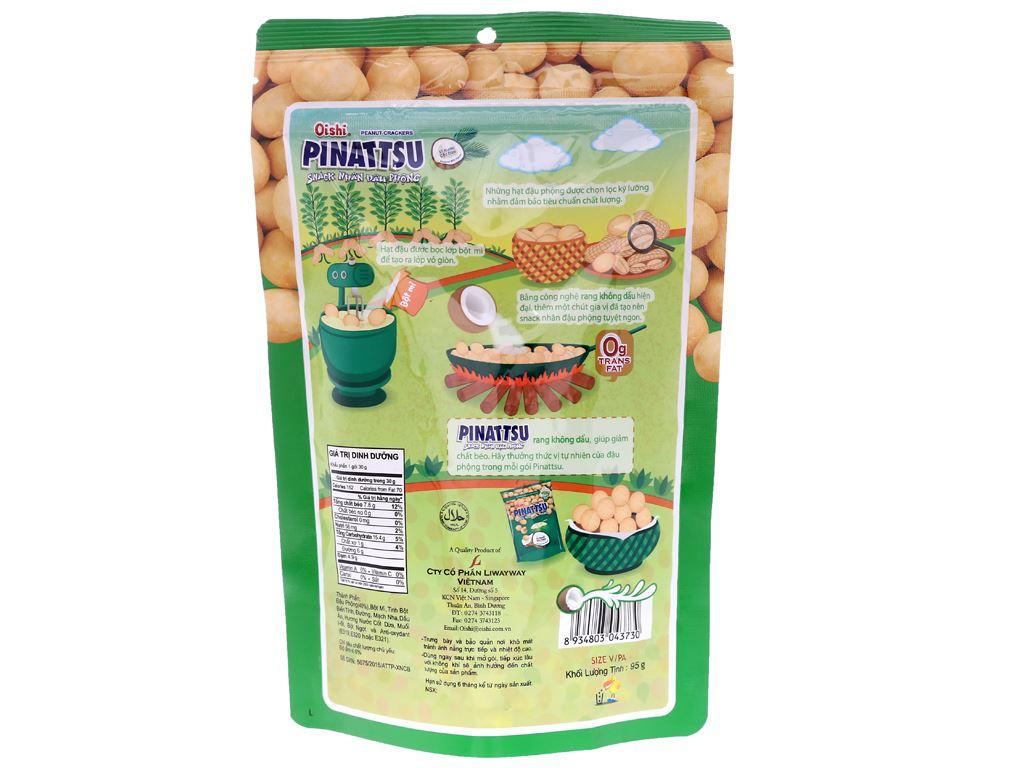Snack nhân đậu phộng vị nước cốt dừa Pinattsu Oishi gói 95g 2
