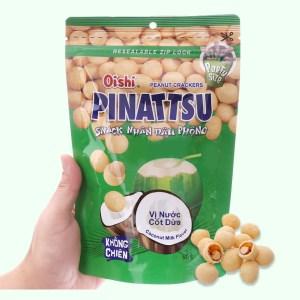 Snack nhân đậu phộng vị nước cốt dừa Pinattsu Oishi gói 95g