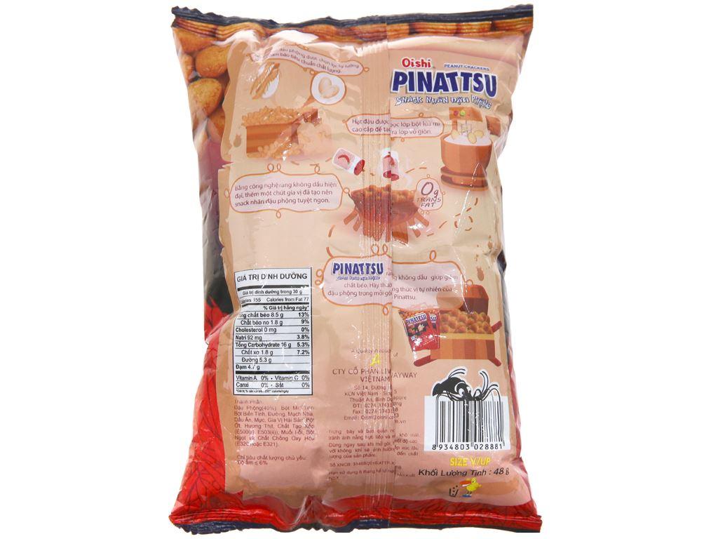 Snack nhân đậu phộng vị hải sản siêu cay Pinattsu Oishi gói 48g 2