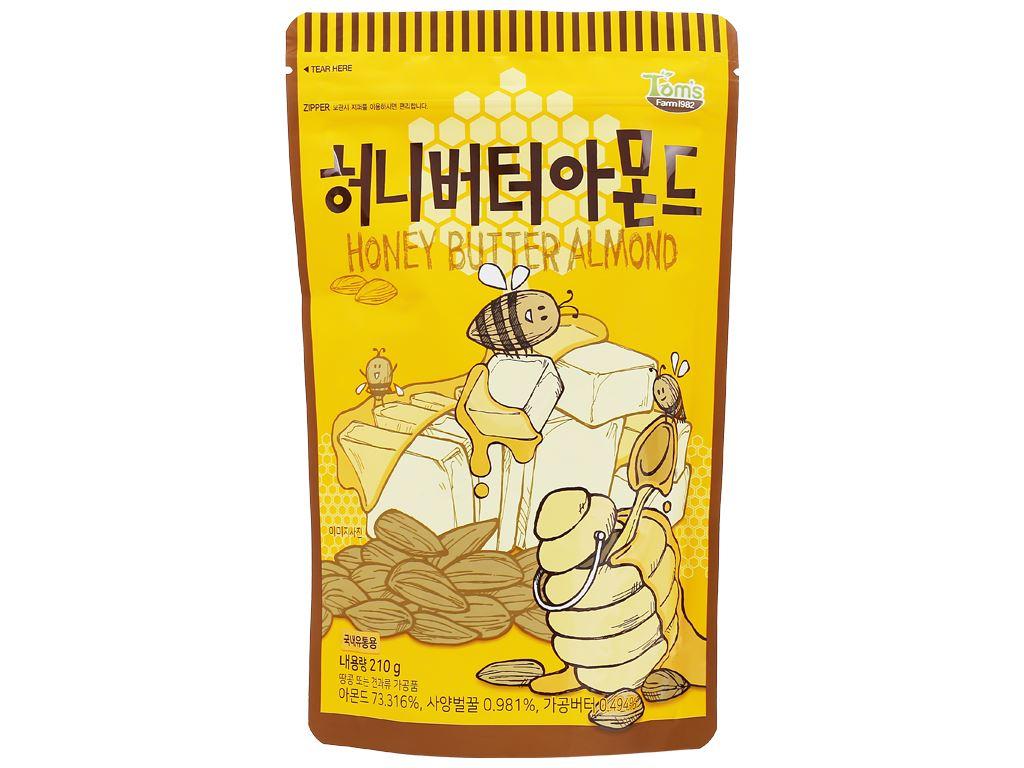 Hạt hạnh nhân tẩm bơ mật ong Tom's Farm túi 210g 1