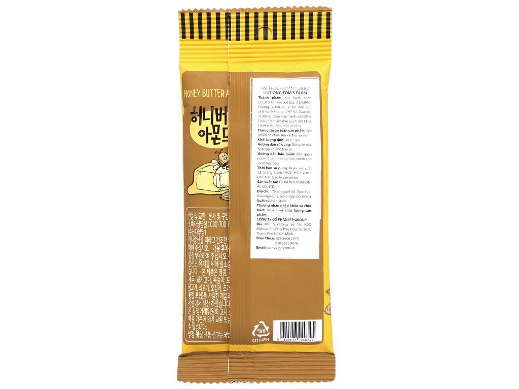 Hạt hạnh nhân tẩm bơ mật ong Tom's Farm gói 30g 2