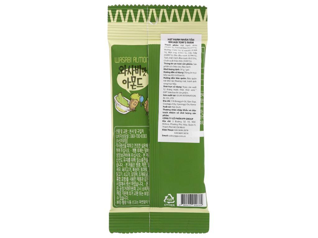 Hạt hạnh nhân tẩm wasabi Tom's Farm gói 30g 2