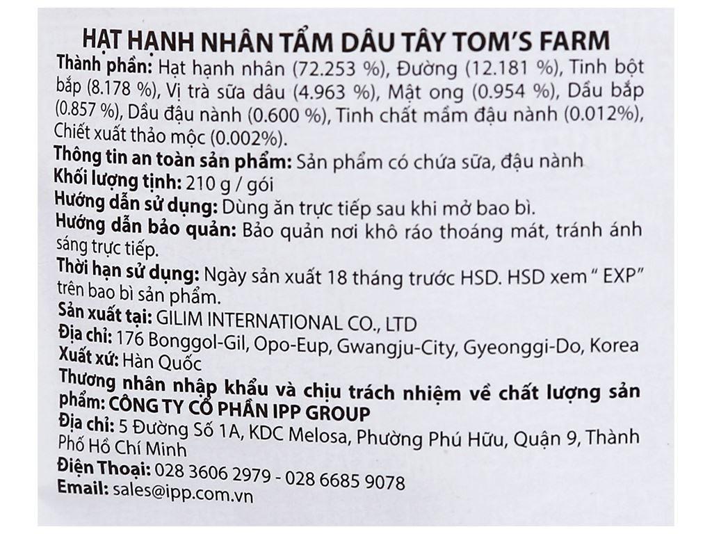 Hạt hạnh nhân tẩm dâu tây Tom's Farm túi 210g 3