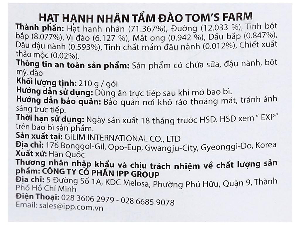 Hạt hạnh nhân tẩm đào Tom's Farm túi 210g 3