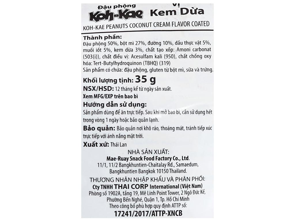 Đậu phộng vị kem dừa Koh-Kae gói 35g 3