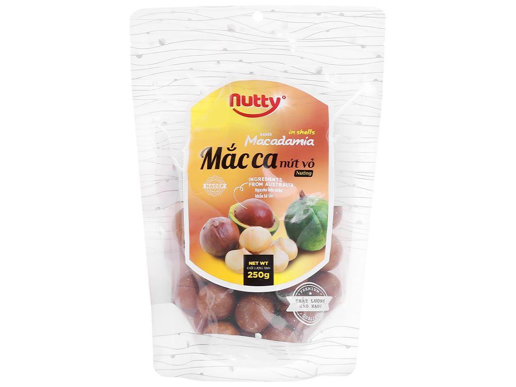 Hạt mắc ca nứt vỏ nướng Nutty túi 250g 1