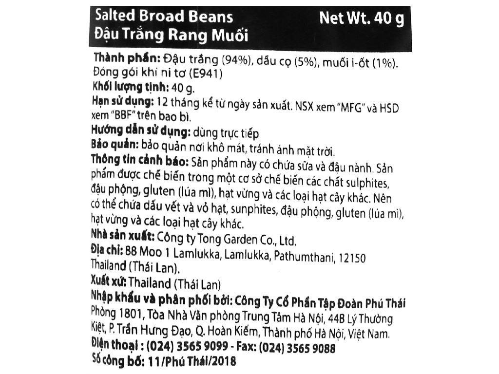 Đậu trắng rang muối Tong Garden gói 40g 3