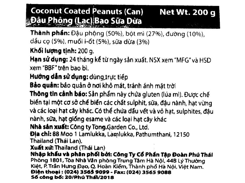 Đậu phộng bao sữa dừa Tong Garden lon 200g 4