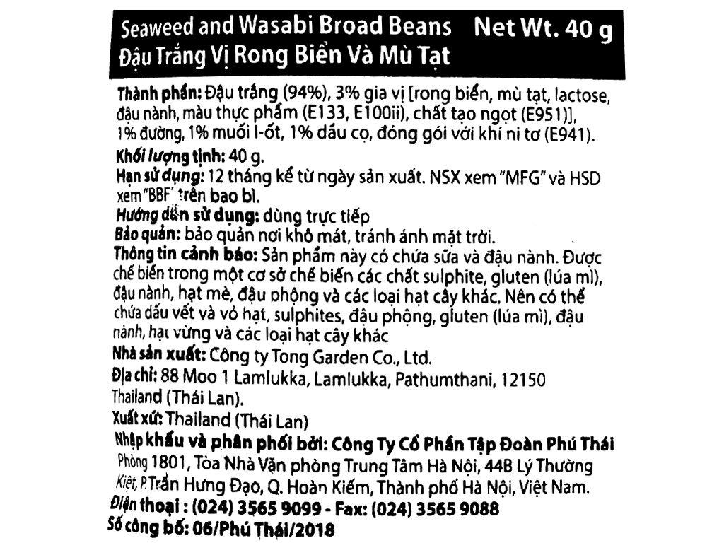 Đậu trắng vị rong biển mù tạt Tong Garden gói 40g 3