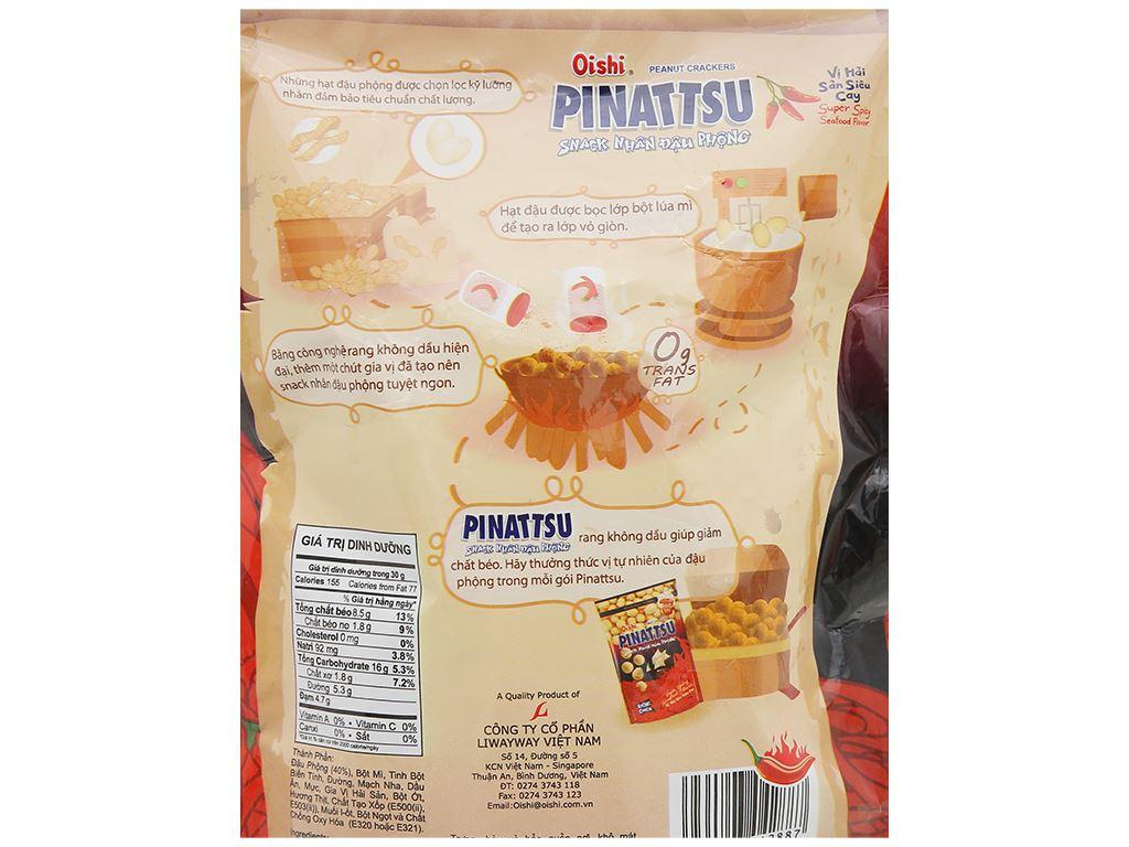 Snack nhân đậu phộng vị hải sản siêu cay Pinattsu Oishi gói 200g 3