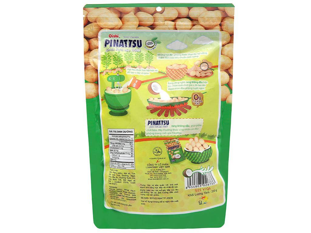 Snack nhân đậu phộng vị nước cốt dừa Pinattsu Oishi gói 200g 2