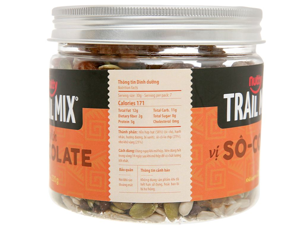 Hỗn hợp hạt vị socola Nutty Trailmix hũ 220g 3