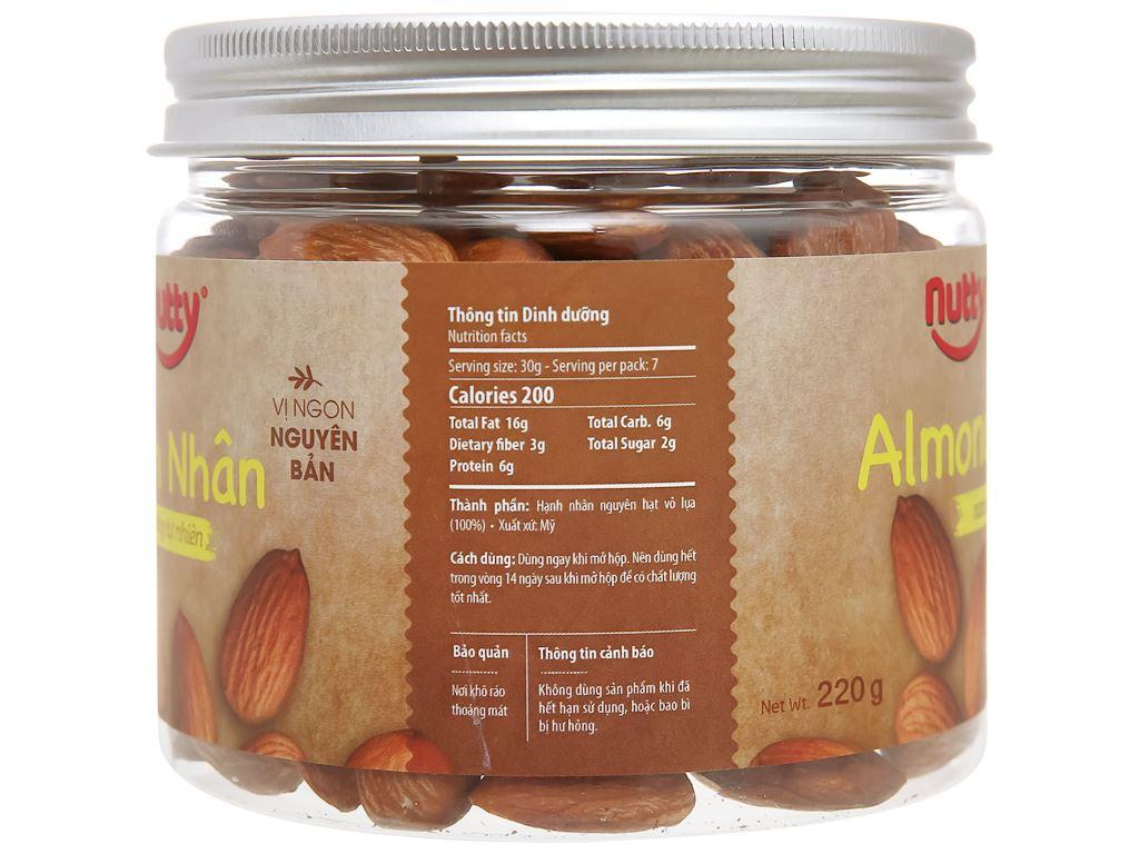Hạnh nhân nướng tự nhiên Nutty hũ 220g 2