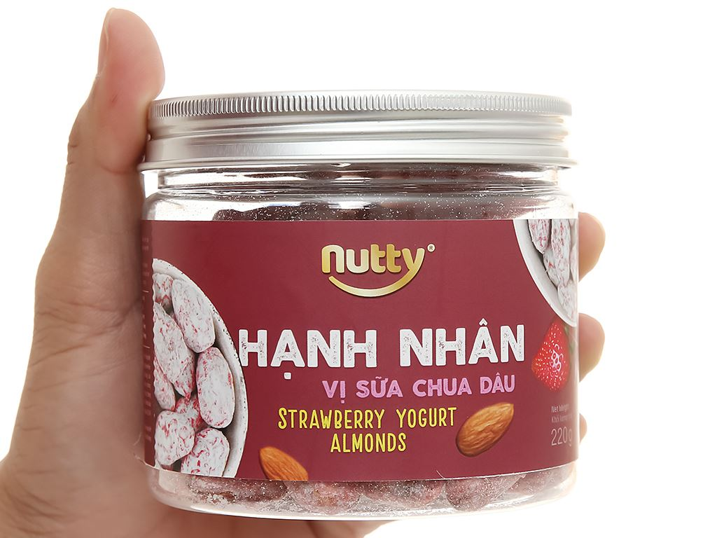 Hạnh nhân vị sữa chua dâu Nutty hũ 220g 4