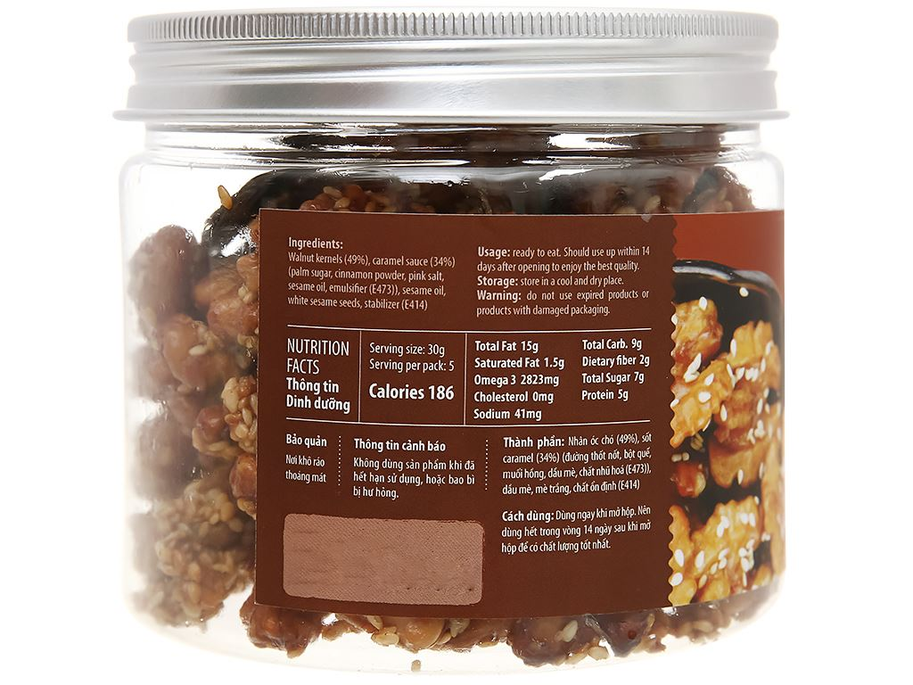 Óc chó vị caramel Nutty hũ 150g 2