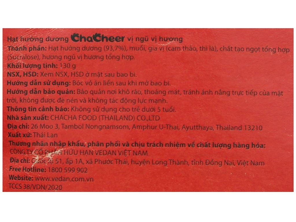 Hạt hướng dương vị ngũ vị hương Chacheer gói 130g 3