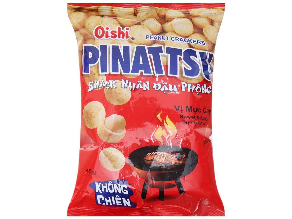 Snack nhân đậu phộng vị mực cay Pinattsu Oishi gói 45g 1