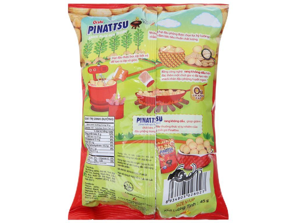 Snack nhân đậu phộng vị mực cay Pinattsu Oishi gói 45g 2