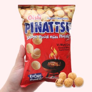 Snack nhân đậu phộng vị mực cay Pinattsu Oishi gói 45g